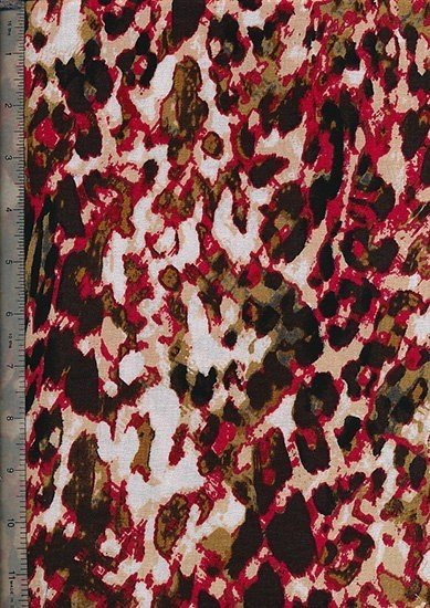 Printed Jersey - Red/Cream Leopard Skin