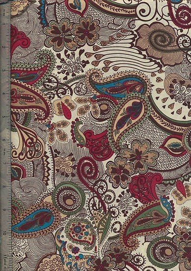 Peter Horton's South Island Lawn Collection - Cream With Blue And Green Paisley