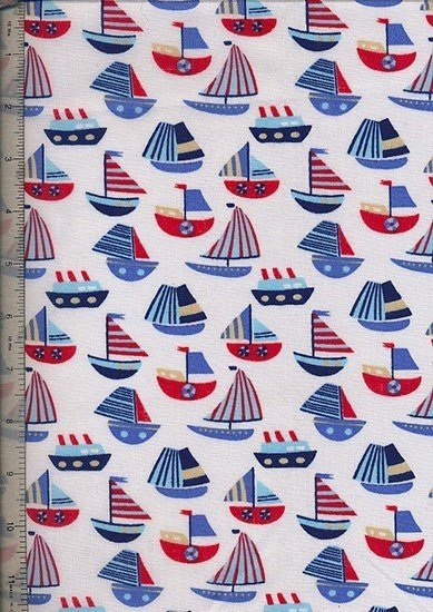 Poly Cotton Novelty - White Yachts