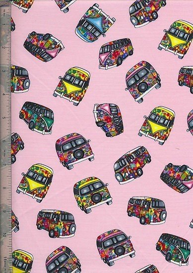 Purse Friendly Print - Novelty Pink Camper Vans - 100 % Cotton Fabric