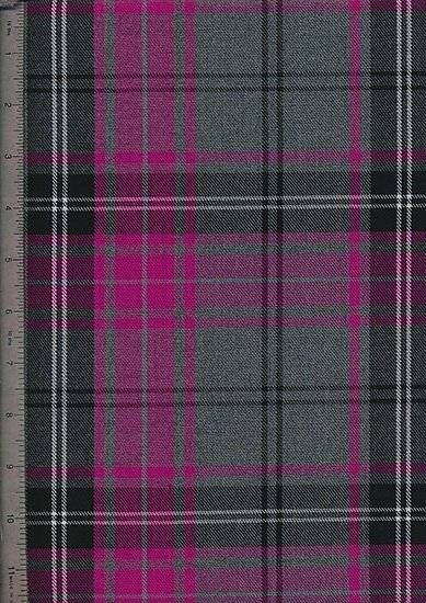 Tartan Poly Viscose - Pink, White & Grey