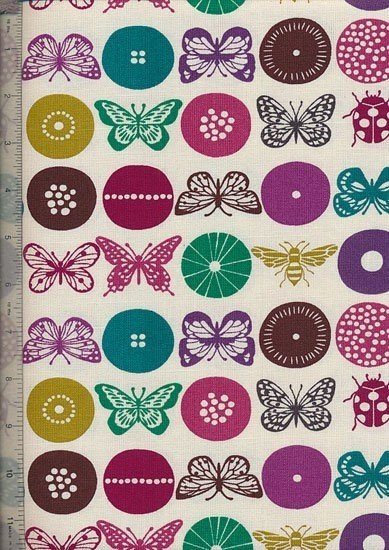 Linen Look Cotton - Butterfly Buttons Ivory