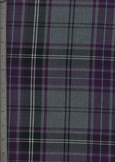 Tartan Poly Viscose - Purple, Grey & White