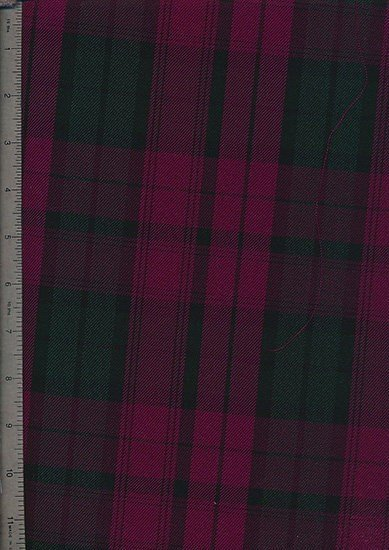 Tartan Poly Viscose - Grey & Black