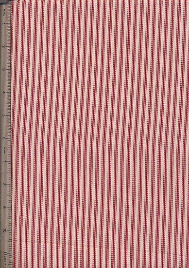 Canvas Ticking  - Thin Red & Cream