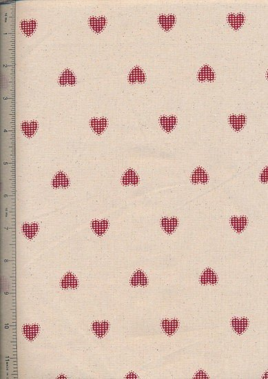 John Louden - Scandi Christmas Natural Red Opaque Hearts