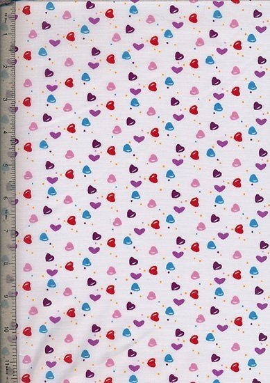 Poly Cotton Novelty - White Hearts