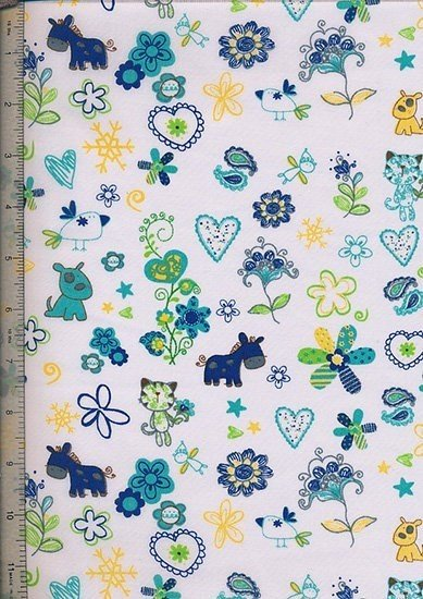 Poly Cotton Novelty - White Animals And Floral
