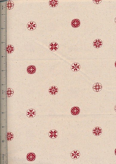 John Louden - Scandi Christmas Natural Red Snowflakes