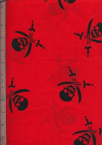 Poly Cotton Novelty - Red Skulls