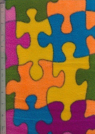 John Louden Fleece - Pink, Purple, Green & Yellow Jigsaw