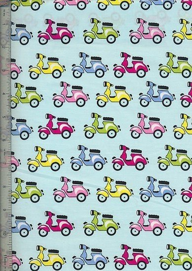 Purse Friendly Print - Scooter Blue - 100 % Cotton Fabric