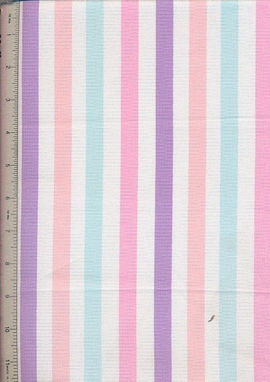 Linen Look Cotton - Blue, Pink & Purple Stripe