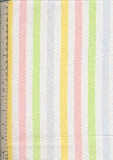 Linen Look Cotton - Yellow, Blue & Pink Stripe