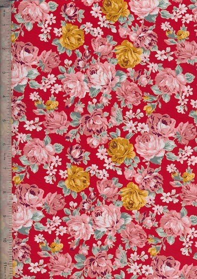Quality Cotton Print - Vintage Summer Rose Red
