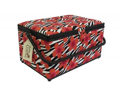 Large Sewing Box - Large Red Flower On Black & White GB1055