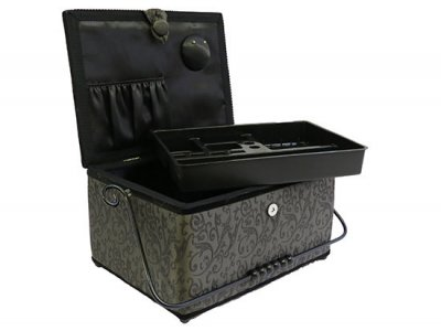 Large Sewing Box - Satin Grey Damask GB1030