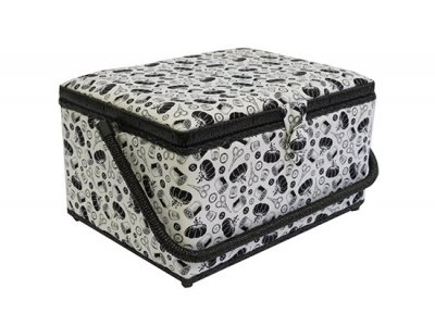 Large Sewing Box - Black & White Sewing Accessories GB1077
