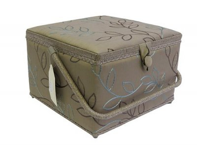 Large Sewing Box - Brown With Teal Embroidered Leaf GB1002