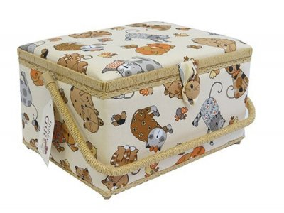 Large Sewing Box - Brown & Grey Cats On Cream GB1087