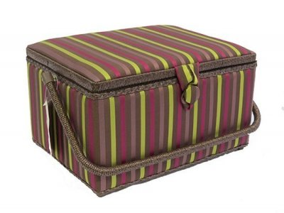 Large Sewing Box - Brown Satin With Magenta & Lime Stripes GB1016
