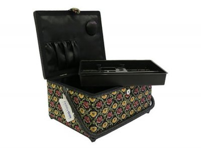 Large Sewing Box - Black With Yellow & Red Flowers GB887
