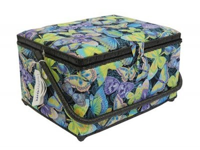 Large Sewing Box - Black With Large Coloured Butterflies BG973