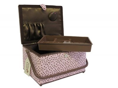 Large Sewing Box - Pink & Brown Spots GB1073