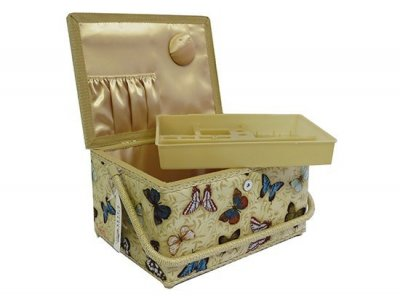 Large Sewing Box - Butterflies On Gold GB1060