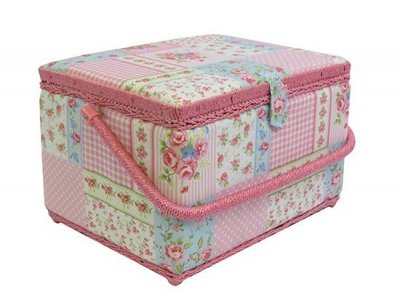Large Sewing Box - Pink Patchwork Rose MRL/14