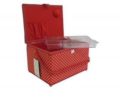 Large Sewing Box - Red with White Polka Dot MRL/19
