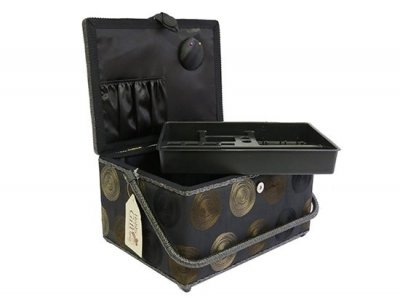 Large Sewing Box - Large Black with Swirl GB1103