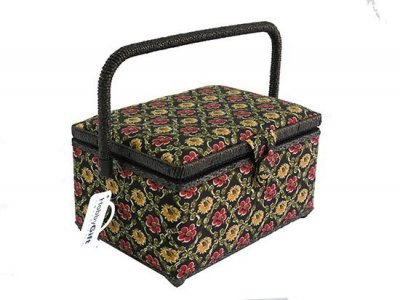 Medium Sewing Box - Black with Yellow and Red Flowers Gb885