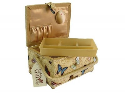 Medium Sewing Box - Gold with Butterflies GB1059