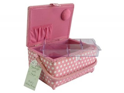 Medium Sewing Box - Pink with White Dots MRM/01