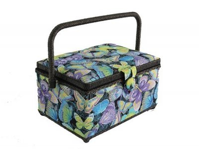 Medium Sewing Box - Black with Bright Butterflies GB972