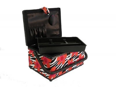 Medium Sewing Box - Red Daises on Black and White GB1053