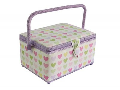 Medium Sewing Box - Pink and Purple Hearts GB1098
