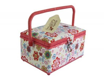 Medium Sewing Box - Pink Flowers GB1046