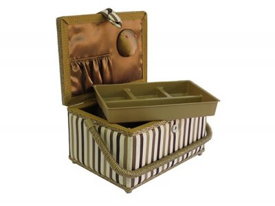 Medium Sewing Box - Gold and Brown Stripe GB1010
