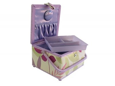 Medium Sewing Box - Square Pink and Green Leaf GB1020