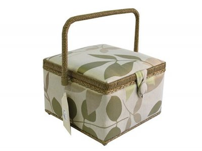 Medium Sewing Box - Square Green and Gold Leaf GB1020