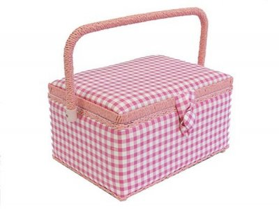 Medium Sewing Box - Pink and White Gingham GB9071