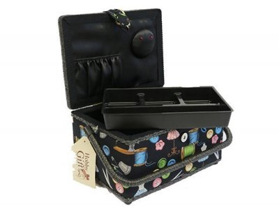 Medium Sewing Box - Black Sewing Notions GB1158