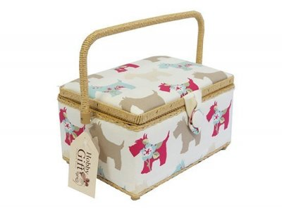 Medium Sewing Box - Blue and Pink Scotties GB1127