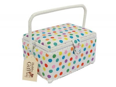 Medium Sewing Box -Dots on White GB1207