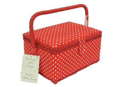 Medium Sewing Box -Red with White Dot MRM/19