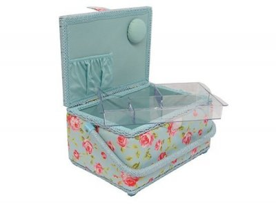 Medium Sewing Box -Blue with Pink Rose MRM/15