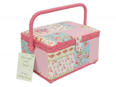 Medium Sewing Box -Pink Patchwork MRM/14