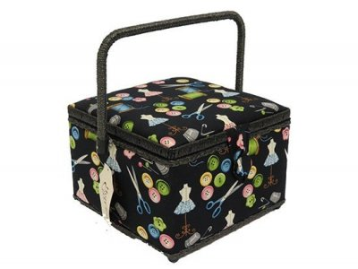 Medium Sewing Box - Square Black Notions GB1159